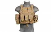 Lancer Tactical CA-305T Tactical Assault Plate Carrier MOLLE PALS Vest - Tan