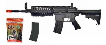 JG M4 Free Floating Rail System Airsoft AEG Rifle Combo